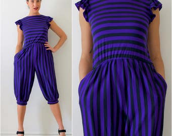 SUMMER SALE/ 30% off Vintage 70s 80s Purple and Black Striped Pirate Pantaloon Jumpsuit (size small, medium)