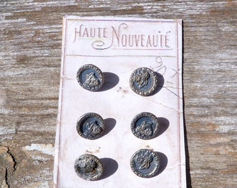 Vintage Antique Victorian French 1890/1900 silvered floral buttons set of 6 on card