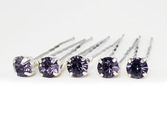 Purple Rhinestone Hair Pins - Purple Crystal Hair Pins, Purple Wedding Hair Pins, Purple Bobby Pins - 7mm/5 qty - FLAT RATE SHIPPING