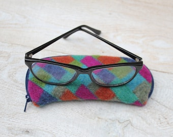 Felted Wool Glasses Case Colorful Patchwork Glasses Case in Blues Turquoise Rust and Hot Pink