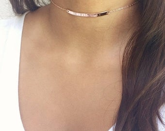 SPRING SALE Personalized Rose Gold Choker Necklace Roman Numerals Bar Choker Coordinates Bar Necklace Short Necklace Bridesmaids Gift