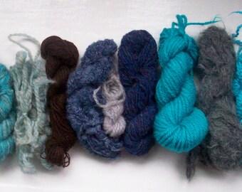 Grab bag assorted yarn 50g grey turquoise M0117-7
