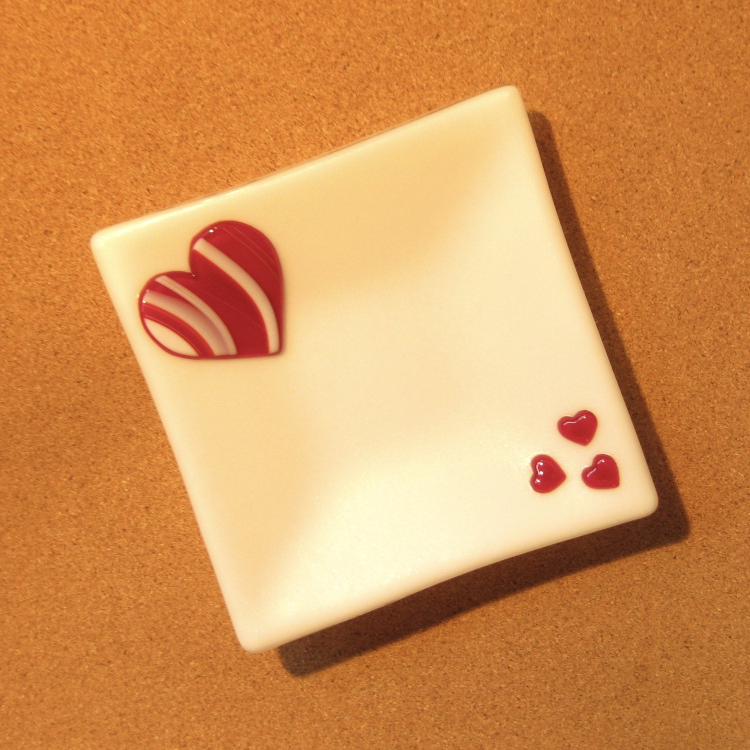 Fused Glass Valentine Plate   Fused Glass Heart Plate   Trinket Tray    White Iridescent Fused