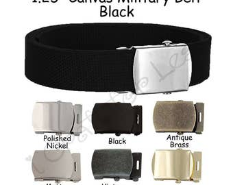 """1.25"""" Black Canvas Military Web Belt, Pick from 6 Finishes and 12 Sizes - SEE COUPON"""