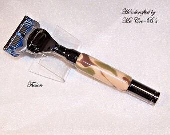 Magnum Bullet Style Razor Handle Gillette Fusion / Mach 3 / Venus in Black Titanium featuring Desert Camo Acrylic, For him, For her
