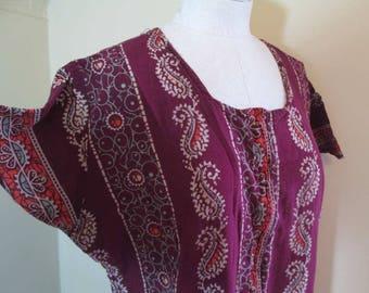 60s Maroon Paisley Caftan Vintage 1960s Kaftan India Blockprint Caftan long maxi dress hippie boho maxi dress short Angel sleeves M L