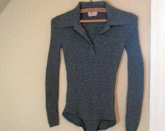 Vintage Bodysuit 70s rib knit Gray Leotard long sleeve Bodysuit 70s Big Collar vintage Gray Knit One Piece Leotard 70s knit bodysuit S M