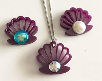 PURPLE PETIT SHELL laser cut necklace choose bead