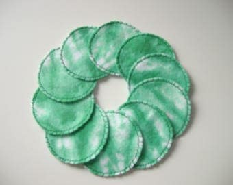Cotton Rounds Washable Reusable Green Tie Dye  Make-up Remover Pads, Greenery