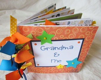 premade PaPeR BaG Mini Scrapbook Album -- GRANDMA and ME {boy} -- grandma's brag book, love my grandma, nana