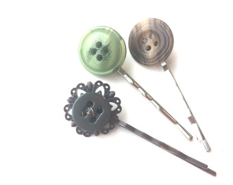 Woodland Set of Hairpins made from vintage buttons brown and green swirl