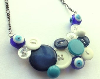 Holiday Jewelry Sale Evil Eye Vintage Button Statement Necklace in Blue and White