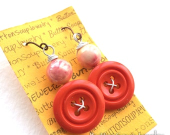 Fun Vintage Button Dangle Earrings with bright orange buttons