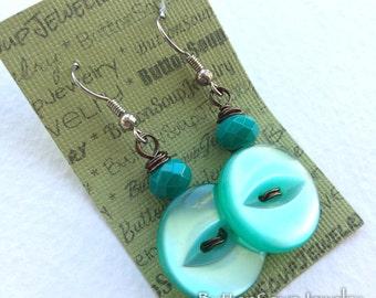 Aqua Teal Vintage Button Dangle Earrings - Shabby Chic