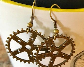 Bike Gear Earrings Shaped Like Bike Rims and Spokes with Antique Gold Brass Metal Dangles in Antique Gold and French Hooks