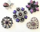 5 Jeweled Magnets. PURPLE Lavender