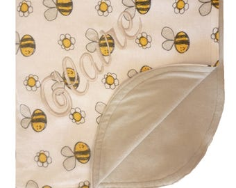 Custom Embroidered Double Sided BumbleBee Print Cotton Flannel Lined Blanket with Rounded Top Stitched Edge