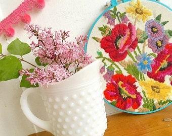 Vintage Small Sized White Hobnail Milk Glass Pitcher Vase Farmhouse Decor