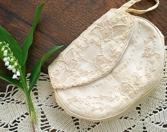 Something Old... Antique Lace Silk Purse Clutch Bag Wristlet Formal Wedding Attire Bride Something Old