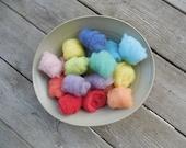 Felting Wool - Naturally Dyed Wool - Merino Felting Wool  - 16 mini bundles - plant dyed - merino batting - 8 naturally dyed colors