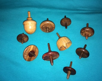 Ten Handcrafted Spinning Tops