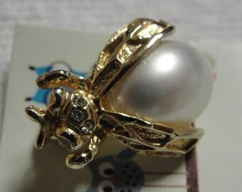 Simulated Pearl Bug Brooch