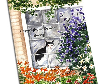 Tuxedo Cat Art Print Cottage Garden ACEO Cat Print Cat Lover Cat Gift ACEO Art Lilies Clematis Cat Artwork Cat DesignDenise Every