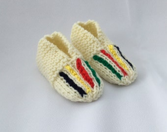 Striped Slippers Knitted Slippers - Children's Knitted Slippers Made to Order