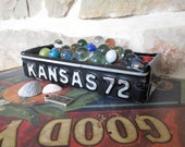1972 Kansas License Plate Tray - Vintage Treasure Box - Planter - FREE SHIPPING