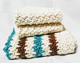 Crocheted Kitchen Towel and Cloth Set, Cream, Brown and Teal Stripes