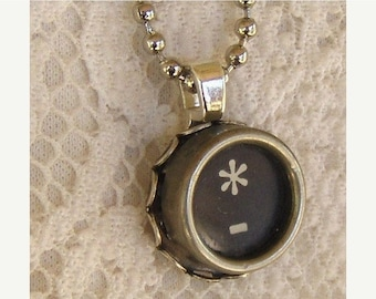 SALE Vintage Typewriter Key Necklace, Asterisk