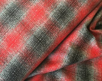 Plaid Flannel, Flannel fabric, Red Plaid, Plaid Blanket Throw fabric, Gray Plaid, Mammoth Flannel, Plaid in Platinum 187, Choose the cut