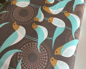 Bird Fabric, Woodland Nursery fabric, Modernist fabric, Joel Dewberry, Rustic Home Decor, Emerald fabric, Perch in Smoke- Choose the cut