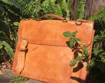 VINTAGE...leather briefcase,natural leather,hard cover,clutch,dark brown,organizer,guy gift,office