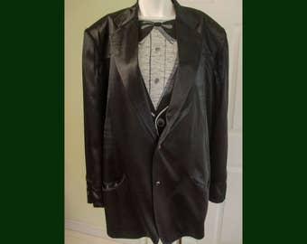 Vintage Rare 1980s Designer Stephen Sprouse Black Satin Oversized Jacket