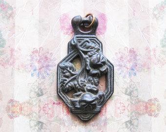 Rose Vine Amulet Escutcheon Necklace Pendant Antique Victorian Filigree Repurpose Jewelry Hardware Finding London, England UK