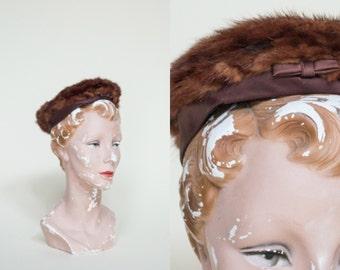 1960s Fur Hat --- Vintage Chocolate Brown Hat