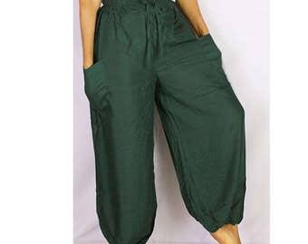 Boho Hippie Dark Green Rayon Elastic Waist Long Aladdin Summer pants (AP06)