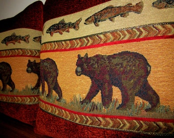 Large Bear Chenille Tapestry Pillow Decorator Soft Comfy Textured Cabin Lodge Decor