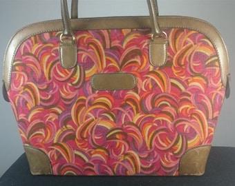 Vintage Mod Go Go Handbag Purse Brown Leather and Multicolored Corduroy Fabric 1960's
