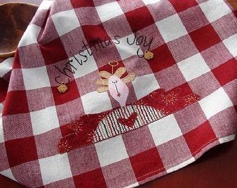Angel Kitchen Towel | Angel Tea Towel | Primitive Applique Joyful Angel | Hand Embroidery | Christmas Home Decor | Red White Check