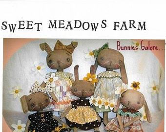 Bunnies Galore Primitive Rabbit Pattern | Sweet Meadows Farm | Soft Farm Style Dolls | Bunnies - Bunny - Bunny Rabbit - Soft Doll Pattern