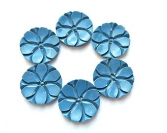 6 Vintage flowers buttons plastic 23mm, uniqu blue carved, button jewel