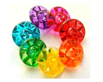 Vintage buttons, 7 glass buttons,  flower shape, hand painted in 7 colors 14mm, Czech