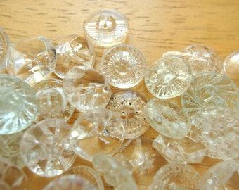 SALE-130 buttons, crystal clear glass antique vintage czech buttons