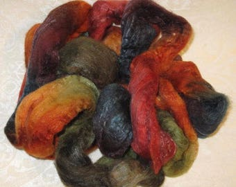 Handpainted Roving -- Merino, Camel, Silk