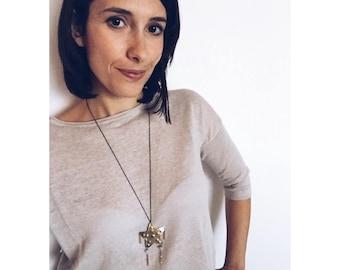 Long starfish necklace, brass & blue quartz and moonstone gemstones, beach necklace
