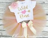 Wild One Birthday Outfit - Baby Girl 1st Birthday Outfit - Pink and Gold 1st Birthday - Mommy and Me - First Birthday Shirt and Tutu