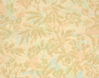 1920's Vintage Wallpaper - Antique Tan Floral and Ferns with Green Peach and Blue