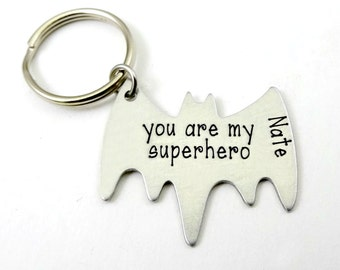 Superhero Key Chain With Names/dates - Valentines Day -Engraved Silver  Batman Key Ring - Fathers Day - Boyfriend Husband